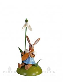 Blank Easter bunny sitting with snowdrops and mandolin