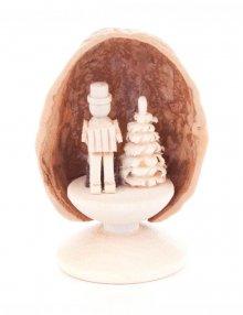 miniature Accordion Player in Walnut Shell