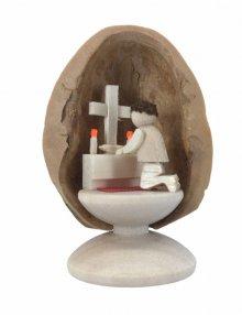 Miniature prayer in walnut shell