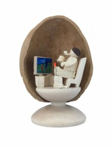 Miniature after work in walnut shell, standing