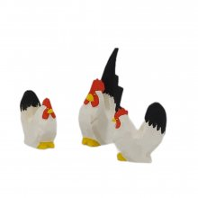 Chabo chickens, black and white