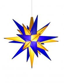 Moravian plastic star 13cm blue/yellow (incl. LED), Edition Upper Lusatia