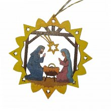 Erzgebirge tree curtain of the birth of Christ, colored