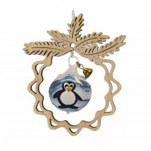 Tree hanging, glass ball penguin, in the branch