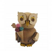 Wooden figure mini owl with ice cream