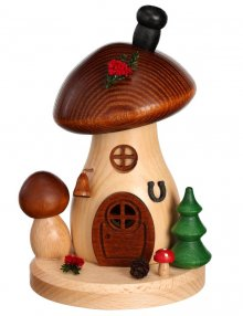Incense figure mushroom house brown cap round and flat