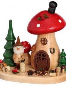 Incense figurine mushroom house wood chopper