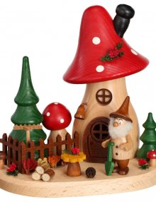 Incense figurine mushroom house gardener