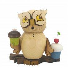 Smoking figurine owl with muffins