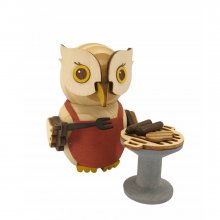 Wooden figure mini owl with grill