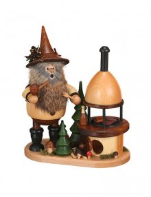 Smoking man Gnome with grill oven