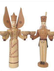 Kerzenhalter Engel und Bergmann