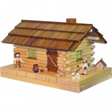 Smoker's house of lights, forest hut with figure
