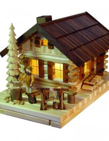Smoked house of lights, log cabin with figure