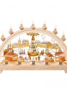 Schwibbogen Christmas market with pyramid, colored