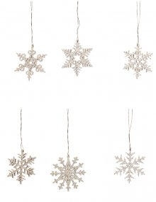 Tree curtain snow crystals 6 pieces. glittering