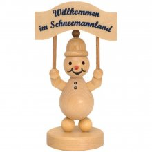 Snowman Junior with sign