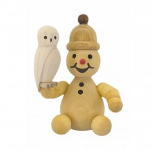Snowman junior with snowy owl
