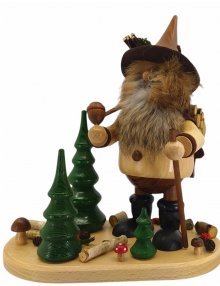 Smoking man forest gnome with wooden box