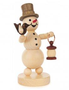 Snowman with lantern and bird