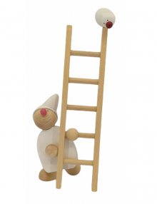 Imp with ladder and bird, white