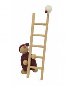 Imp with ladder and bird, red