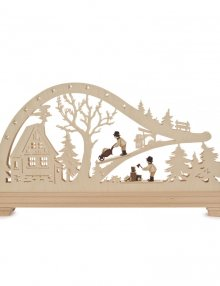LED arch forest hut with forest workers