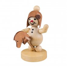 Snow girl with hobby horse