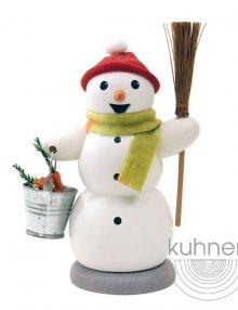 smoker snowman with bucket and broom